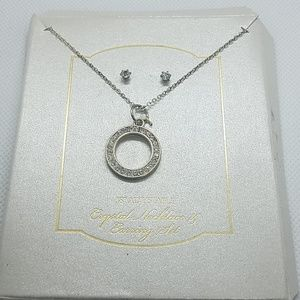NWT Crystal Necklace & Earring Set